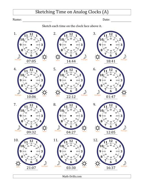 The Sketching 24 Hour Time on Analog Clocks in 1 Minute Intervals (12 Clocks) (A) Math Worksheet