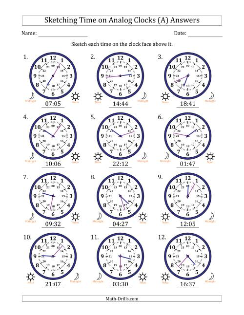 The Sketching 24 Hour Time on Analog Clocks in 1 Minute Intervals (12 Clocks) (A) Math Worksheet Page 2