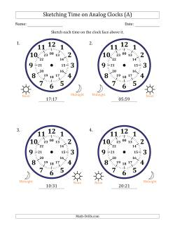 Sketching 24 Hour Time on Analog Clocks in 1 Minute Intervals (4 Large Clocks)
