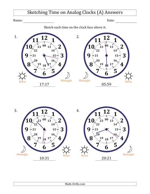 The Sketching 24 Hour Time on Analog Clocks in 1 Minute Intervals (4 Large Clocks) (A) Math Worksheet Page 2