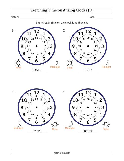The Sketching Time on 24 Hour Analog Clocks in 1 Minute Intervals (Large Clocks) (D) Math Worksheet