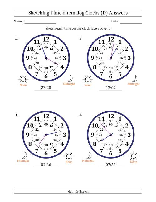 The Sketching Time on 24 Hour Analog Clocks in 1 Minute Intervals (Large Clocks) (D) Math Worksheet Page 2
