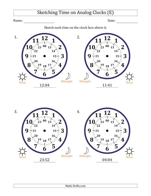 The Sketching Time on 24 Hour Analog Clocks in 1 Minute Intervals (Large Clocks) (E) Math Worksheet