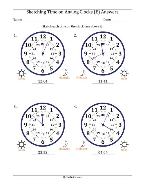 The Sketching Time on 24 Hour Analog Clocks in 1 Minute Intervals (Large Clocks) (E) Math Worksheet Page 2