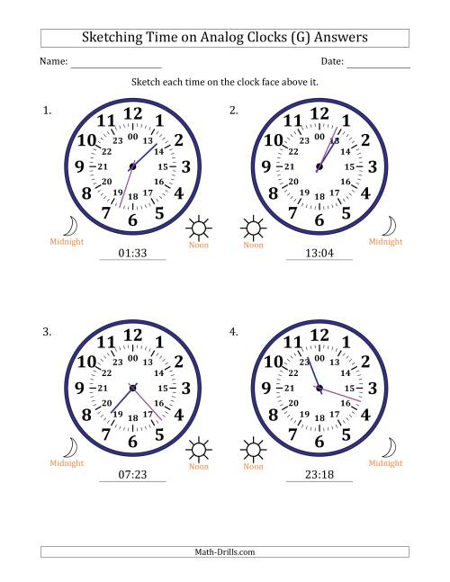 The Sketching Time on 24 Hour Analog Clocks in 1 Minute Intervals (Large Clocks) (G) Math Worksheet Page 2
