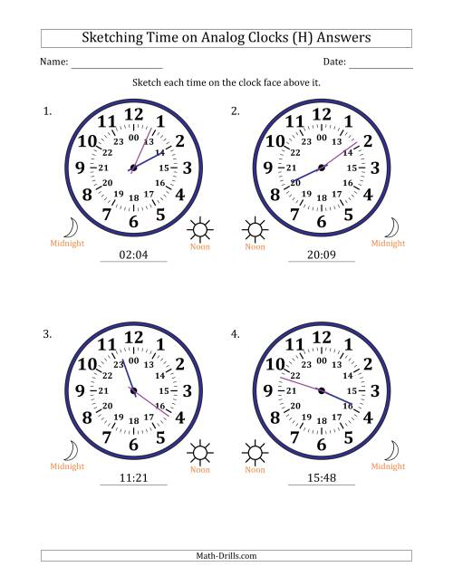 The Sketching 24 Hour Time on Analog Clocks in 1 Minute Intervals (4 Large Clocks) (H) Math Worksheet Page 2
