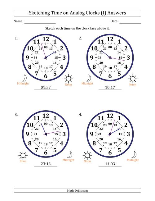 The Sketching Time on 24 Hour Analog Clocks in 1 Minute Intervals (Large Clocks) (I) Math Worksheet Page 2