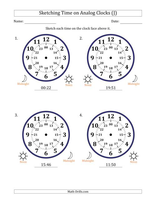 The Sketching 24 Hour Time on Analog Clocks in 1 Minute Intervals (4 Large Clocks) (J) Math Worksheet