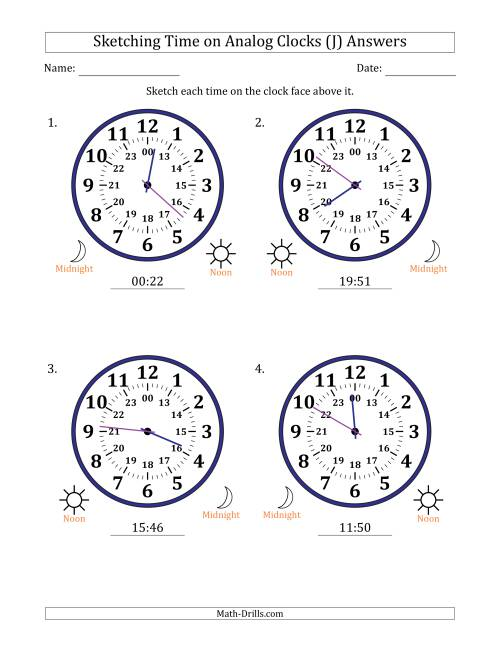 The Sketching 24 Hour Time on Analog Clocks in 1 Minute Intervals (4 Large Clocks) (J) Math Worksheet Page 2