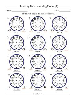 Sketching 24 Hour Time on Analog Clocks in 5 Minute Intervals (12 Clocks)