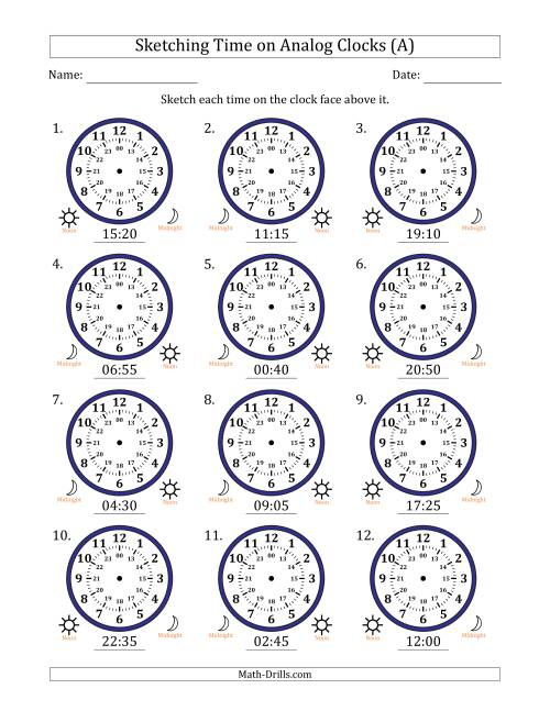 The Sketching 24 Hour Time on Analog Clocks in 5 Minute Intervals (12 Clocks) (A) Math Worksheet