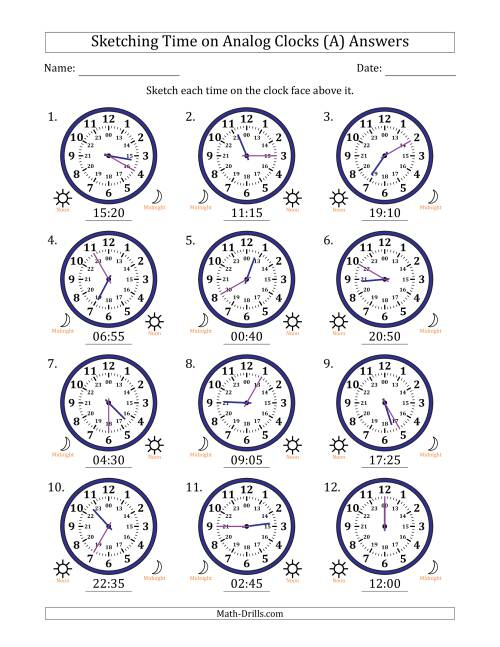 The Sketching Time on 24 Hour Analog Clocks in 5 Minute Intervals (A) Math Worksheet Page 2