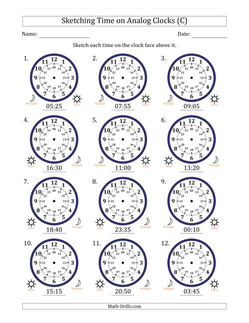 The Sketching Time on 24 Hour Analog Clocks in 5 Minute Intervals (C) Math Worksheet