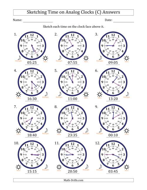 The Sketching Time on 24 Hour Analog Clocks in 5 Minute Intervals (C) Math Worksheet Page 2