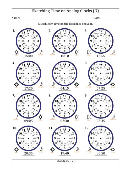 The Sketching Time on 24 Hour Analog Clocks in 5 Minute Intervals (D) Math Worksheet