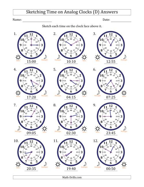 The Sketching Time on 24 Hour Analog Clocks in 5 Minute Intervals (D) Math Worksheet Page 2