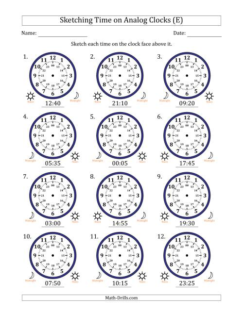 The Sketching Time on 24 Hour Analog Clocks in 5 Minute Intervals (E) Math Worksheet