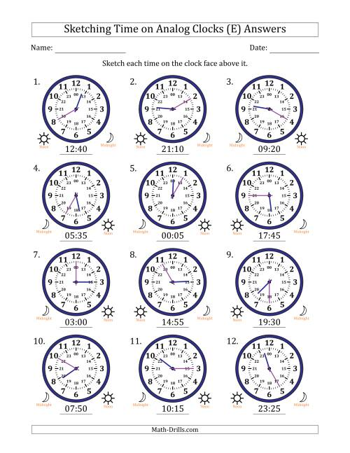 The Sketching Time on 24 Hour Analog Clocks in 5 Minute Intervals (E) Math Worksheet Page 2