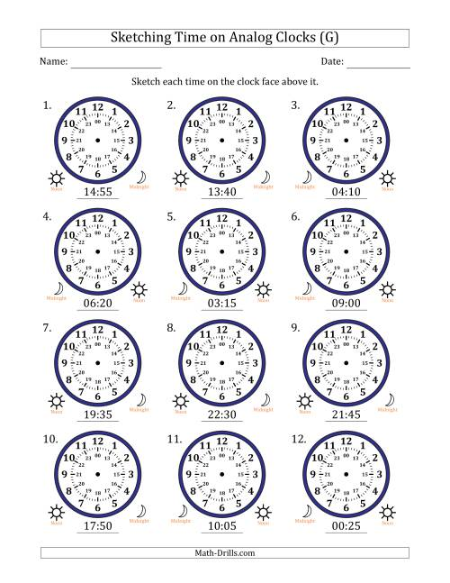 The Sketching Time on 24 Hour Analog Clocks in 5 Minute Intervals (G) Math Worksheet