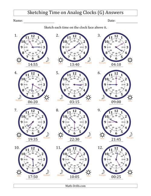 The Sketching Time on 24 Hour Analog Clocks in 5 Minute Intervals (G) Math Worksheet Page 2