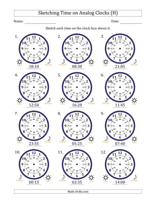 The Sketching Time on 24 Hour Analog Clocks in 5 Minute Intervals (H) Math Worksheet