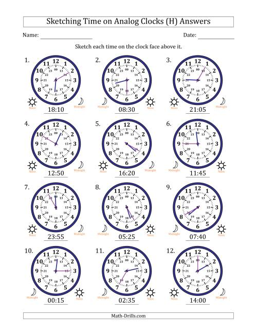 The Sketching Time on 24 Hour Analog Clocks in 5 Minute Intervals (H) Math Worksheet Page 2
