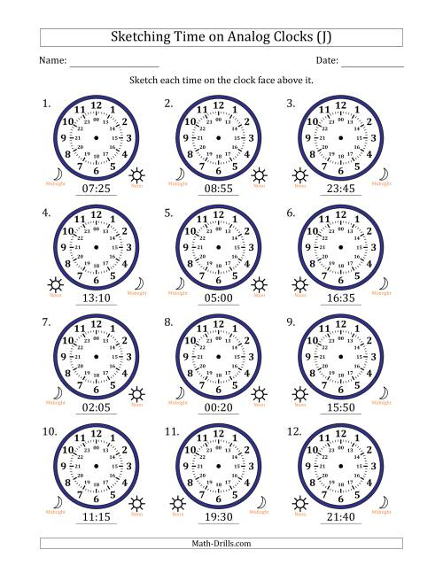 The Sketching Time on 24 Hour Analog Clocks in 5 Minute Intervals (J) Math Worksheet
