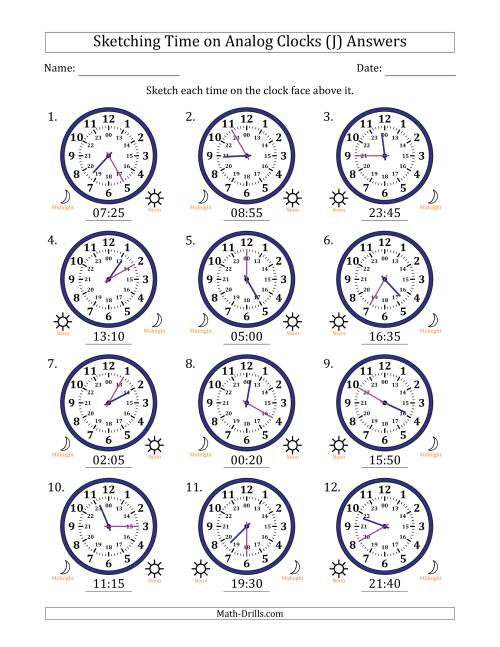 The Sketching Time on 24 Hour Analog Clocks in 5 Minute Intervals (J) Math Worksheet Page 2