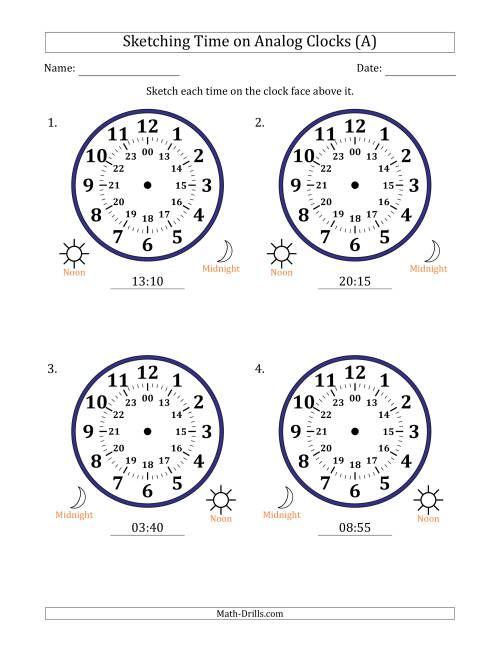 The Sketching Time on 24 Hour Analog Clocks in 5 Minute Intervals (Large Clocks) (A) Math Worksheet