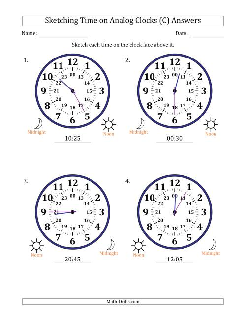 The Sketching Time on 24 Hour Analog Clocks in 5 Minute Intervals (Large Clocks) (C) Math Worksheet Page 2
