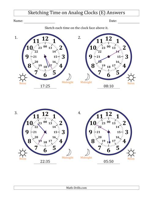 The Sketching Time on 24 Hour Analog Clocks in 5 Minute Intervals (Large Clocks) (E) Math Worksheet Page 2