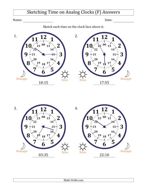 The Sketching Time on 24 Hour Analog Clocks in 5 Minute Intervals (Large Clocks) (F) Math Worksheet Page 2