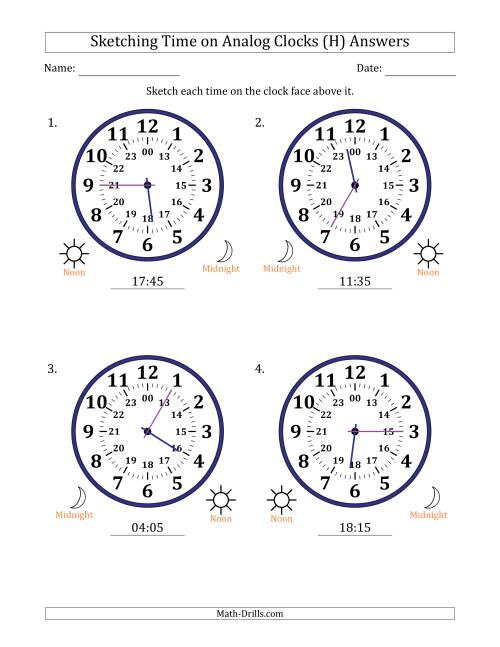 The Sketching Time on 24 Hour Analog Clocks in 5 Minute Intervals (Large Clocks) (H) Math Worksheet Page 2