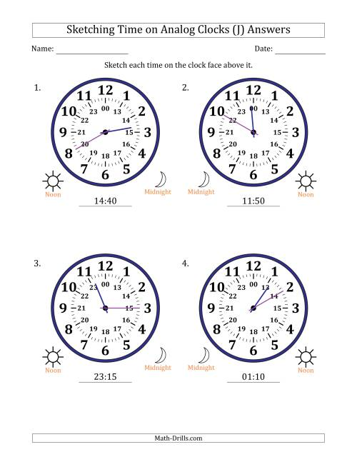 The Sketching Time on 24 Hour Analog Clocks in 5 Minute Intervals (Large Clocks) (J) Math Worksheet Page 2