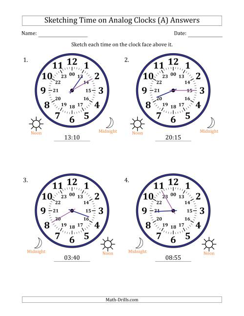The Sketching Time on 24 Hour Analog Clocks in 5 Minute Intervals (Large Clocks) (All) Math Worksheet Page 2