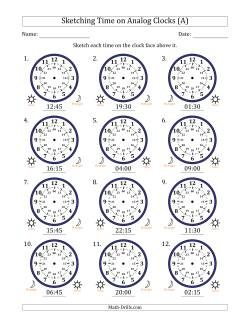 Sketching 24 Hour Time on Analog Clocks in 15 Minute Intervals (12 Clocks)