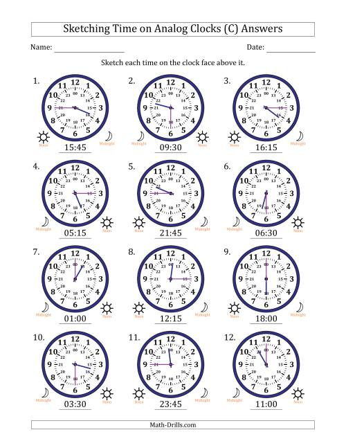 The Sketching Time on 24 Hour Analog Clocks in 15 Minute Intervals (C) Math Worksheet Page 2