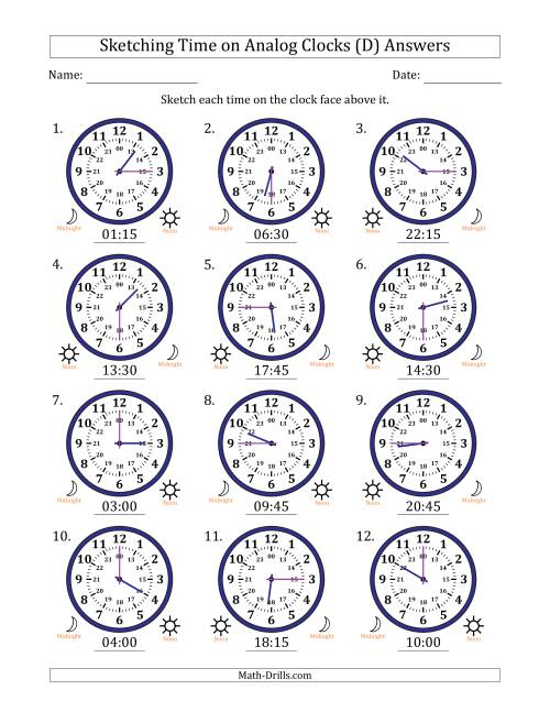 The Sketching Time on 24 Hour Analog Clocks in 15 Minute Intervals (D) Math Worksheet Page 2