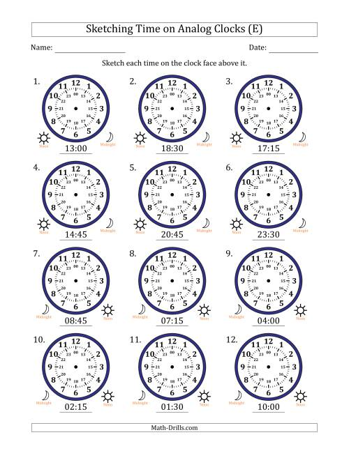 The Sketching Time on 24 Hour Analog Clocks in 15 Minute Intervals (E) Math Worksheet