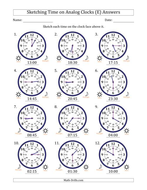 The Sketching Time on 24 Hour Analog Clocks in 15 Minute Intervals (E) Math Worksheet Page 2