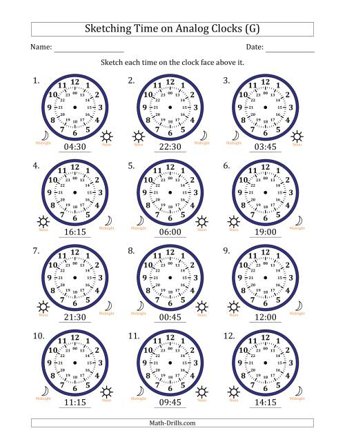 The Sketching Time on 24 Hour Analog Clocks in 15 Minute Intervals (G) Math Worksheet