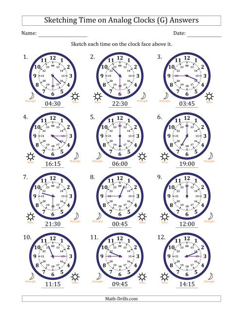 The Sketching Time on 24 Hour Analog Clocks in 15 Minute Intervals (G) Math Worksheet Page 2