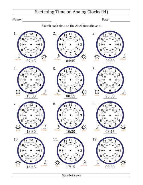 The Sketching Time on 24 Hour Analog Clocks in 15 Minute Intervals (H) Math Worksheet