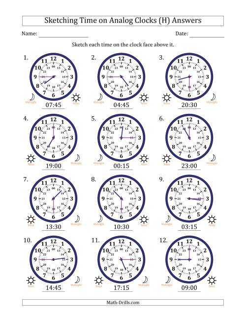 The Sketching Time on 24 Hour Analog Clocks in 15 Minute Intervals (H) Math Worksheet Page 2