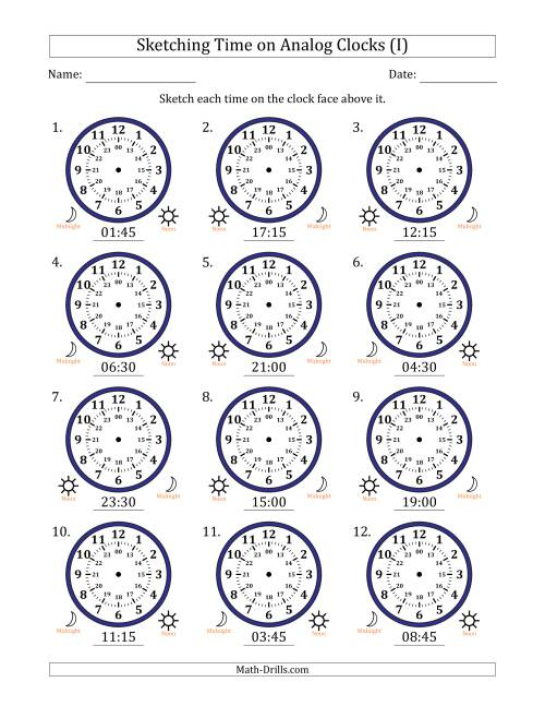 The Sketching Time on 24 Hour Analog Clocks in 15 Minute Intervals (I) Math Worksheet