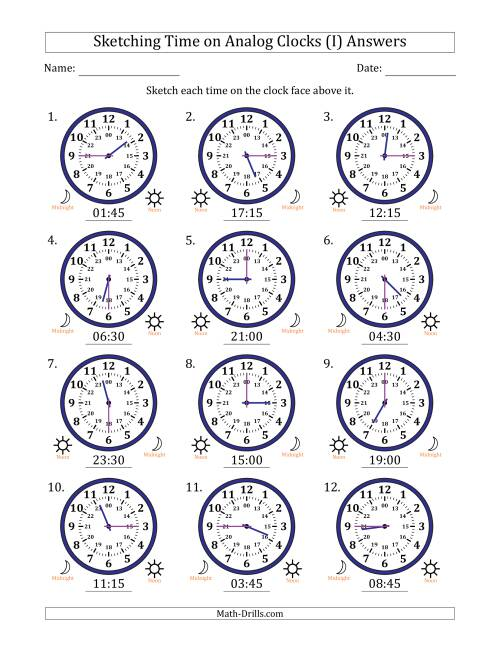The Sketching Time on 24 Hour Analog Clocks in 15 Minute Intervals (I) Math Worksheet Page 2
