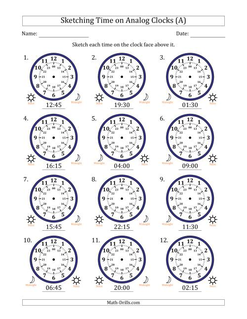 The Sketching Time on 24 Hour Analog Clocks in 15 Minute Intervals (All) Math Worksheet