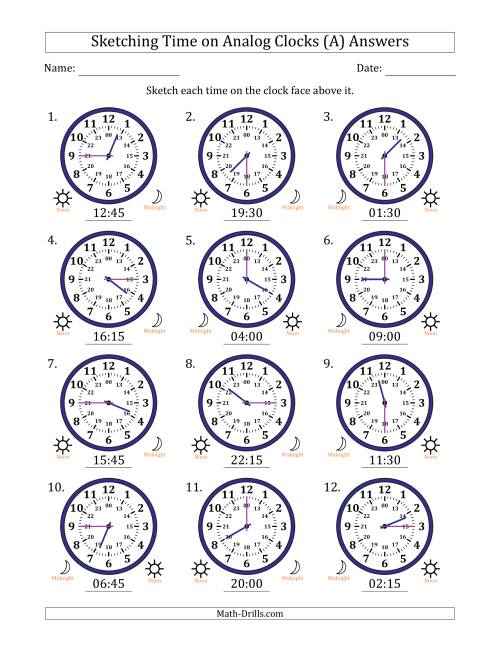 The Sketching Time on 24 Hour Analog Clocks in 15 Minute Intervals (All) Math Worksheet Page 2