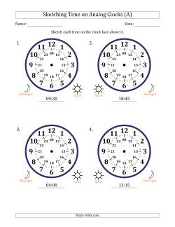Sketching 24 Hour Time on Analog Clocks in 15 Minute Intervals (4 Large Clocks)