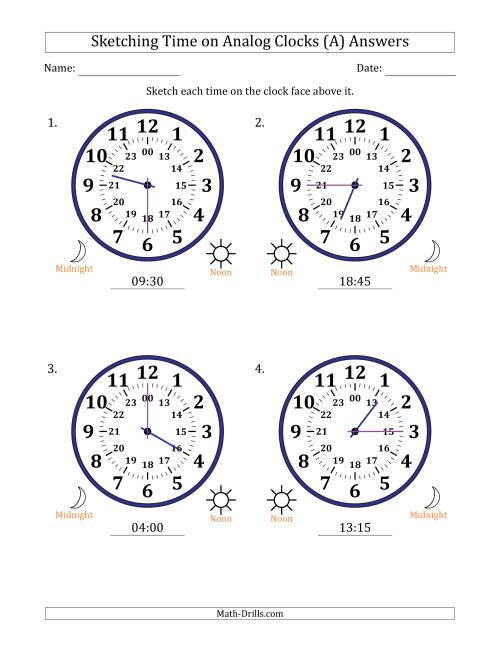 The Sketching 24 Hour Time on Analog Clocks in 15 Minute Intervals (4 Large Clocks) (A) Math Worksheet Page 2